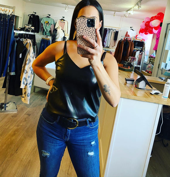 Leather cami