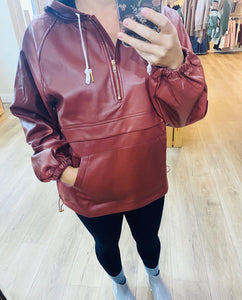 Faux Leather pullover hoodie