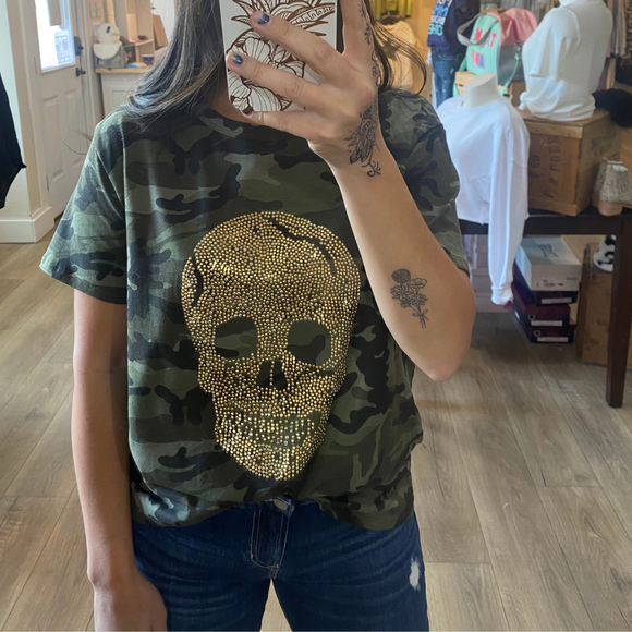 Camo top with gold Beaded skull