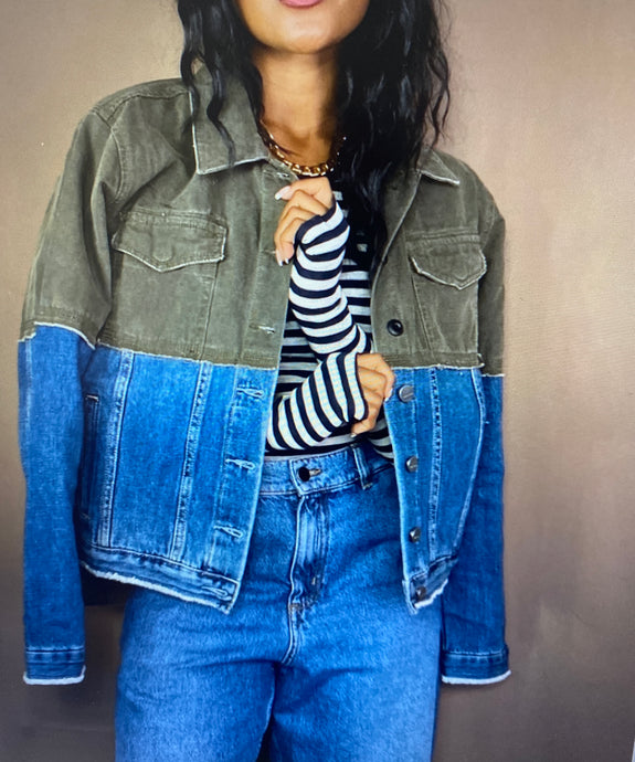 Two tone jacket with jean and green canvas