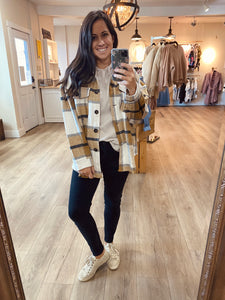 Oversized flannel button down jacket