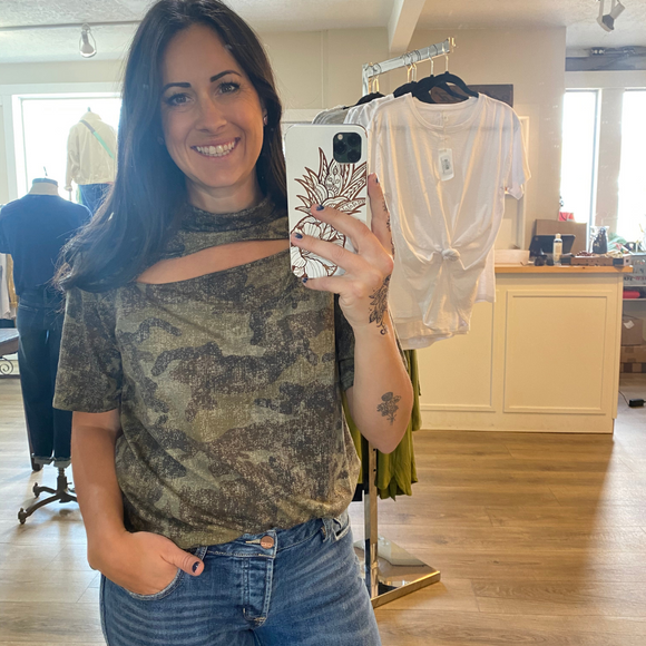 Camo print top with front slit