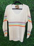 Ivory sweater with rainbow