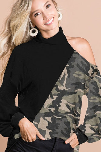 Camouflage/Black long sleeve with shoulder cutout