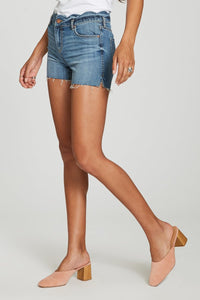 Denim shorts with scalloped waistband
