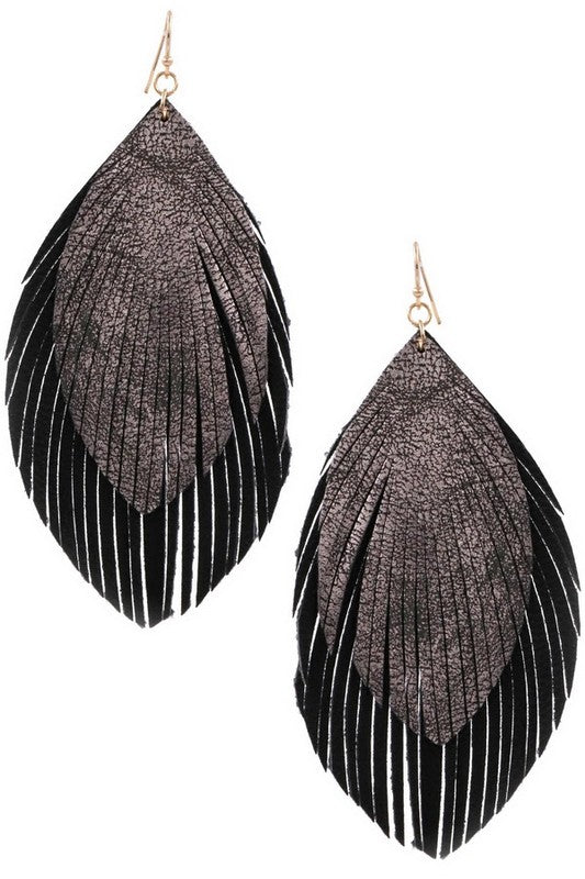 Layard faux leather feather drop earring