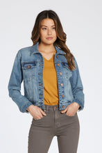 Load image into Gallery viewer, Jean Jacket with Plaid back