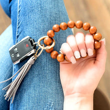 Load image into Gallery viewer, Wood Key ring bangle bracelet