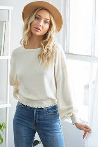 Smoked knit top with balloon sleeve