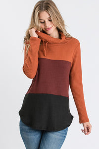 Cowl neck waffle top