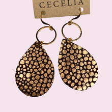 Load image into Gallery viewer, Dark Brown and gold earrings with gold hoop GN230A