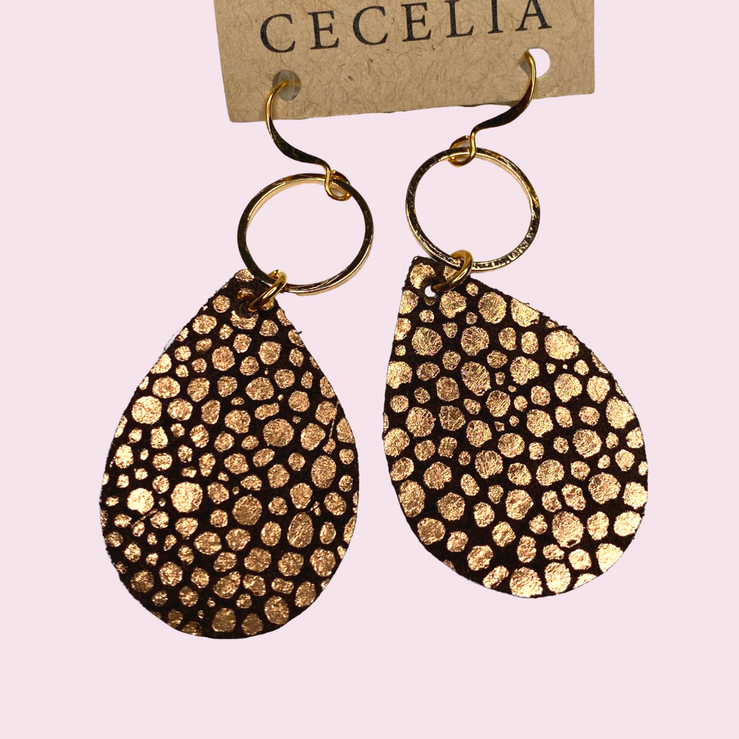 Dark Brown and gold earrings with gold hoop GN230A