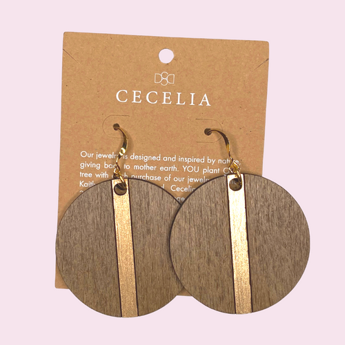 Wooden Circle Earrings with Gold Stripe JT34