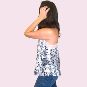 Snakeskin Pint Tank with Lace