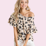 Dalmatian Print Terry Tee with tiered sleeves