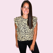 Load image into Gallery viewer, Ruffled sleeve leopard tee with pocket