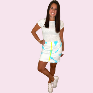 Tie Dye skirt with neon zipper