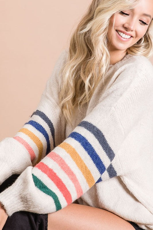 Multi strip sweater with balloon stripe sleeve