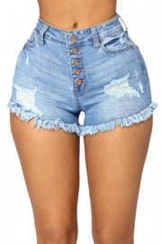 Black Close Fit High Waist Denim Shorts - Bigdealfashions