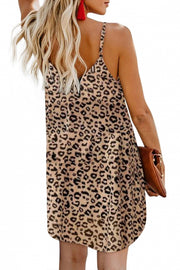 Leopard Pattern Buttoned Slip Cami Dress - Bigdealfashions