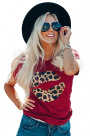 Red Modern Vintage Boutique Kiss On The Face Leopard Lip Tee - Bigdealfashions