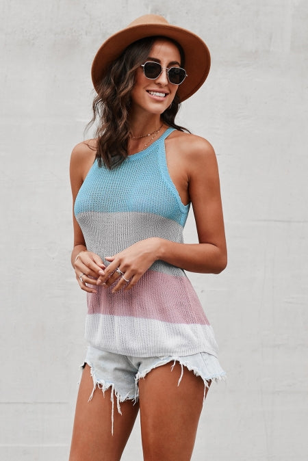 Sky Blue Color Block Striped Knit Tank Top - Bigdealfashions