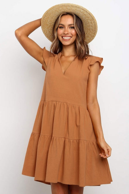 Brown Short Ruffled Sleeve V Neck Tiered Gathered Dress - Bigdealfashions