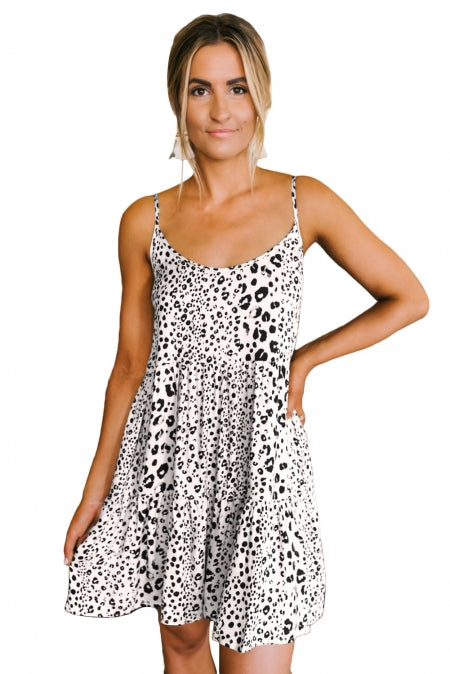 Apricot Tiered Leopard Babydoll Dress - Bigdealfashions