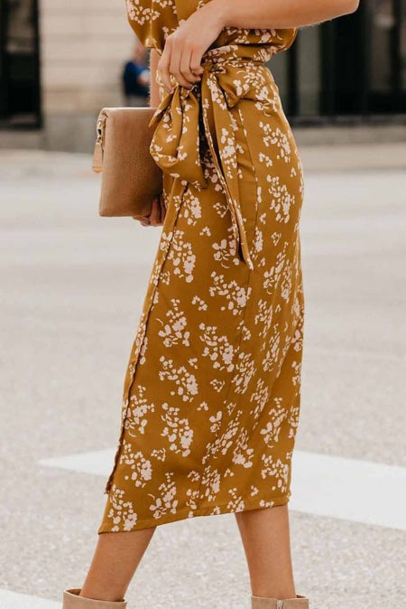 Yellow Floral Wrap Midi Dress - Bigdealfashions
