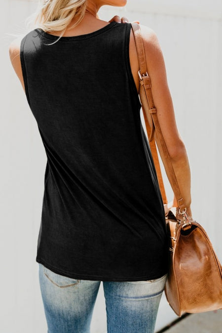 Black Casual Women Tank Top with Multicolor Pocket - Bigdealfashions