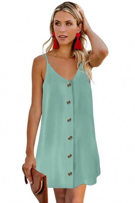 Sky Blue Buttoned Slip Dress - Bigdealfashions