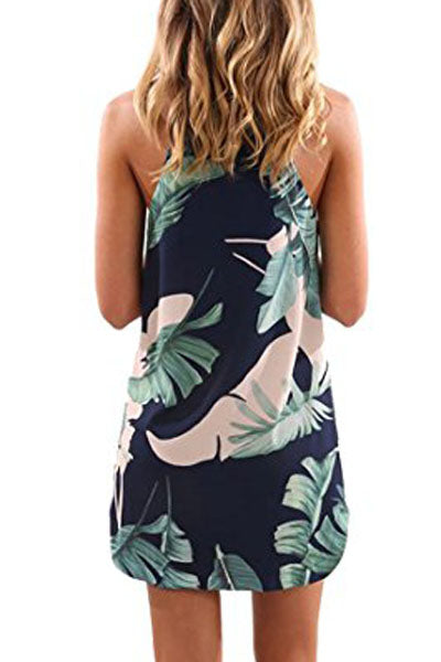 Palm Tree Leaf Print Navy Sleeveless Dress - Bigdealfashions