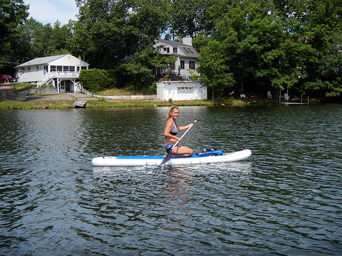 Riding a BIGFISH inflatable stand up paddleboard