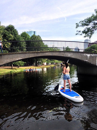 Paddling the Charles on a BIGFISH inflatable stand up paddle board in Boston