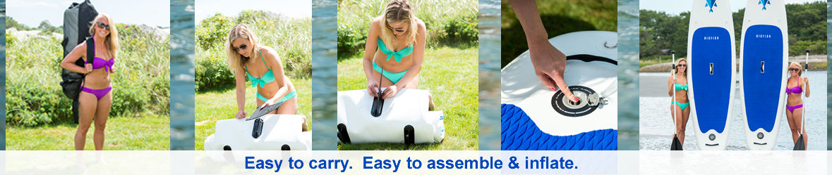 BIGFISH ISUPs are easy to carry, easy to assemble and easy to inflate.