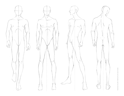 Male FASHION DESIGN CROQUIS Template Front and Back Views