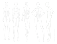 Female FASHION DESIGN CROQUIS Template Front Side Back Views