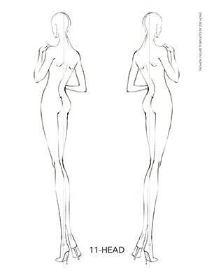 Female fashion figure templates backs