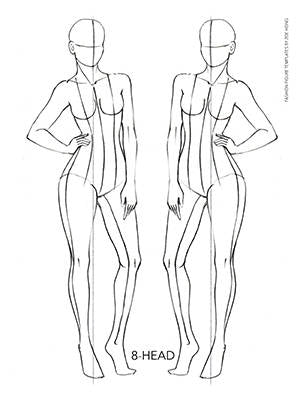 Female fashion figure templates pose