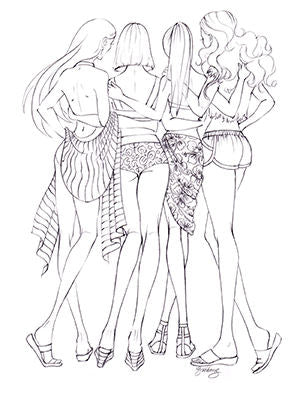 FASHION COLORING PAGE: 4 Friends at the Beach