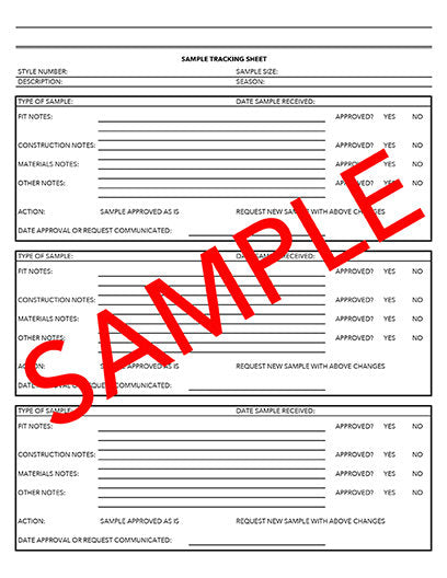 Tech Pack Sample Tracking Sheet Template