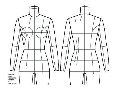 Flat template female torso