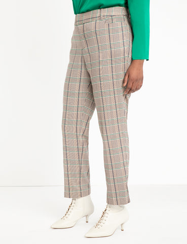 Plaid Kady Trouser in Brown + Green Plaid