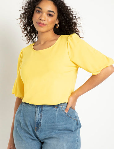 Puff Sleeve Ponte Top in Primrose Yellow