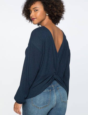 Twist Back Top in Black Iris