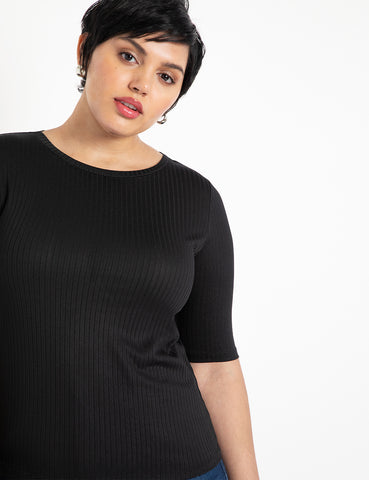 Ribbed Elbow Sleeve Tee in Totally Black
