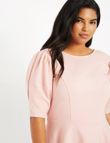 Puff Sleeve Peplum Top in Silver Pink