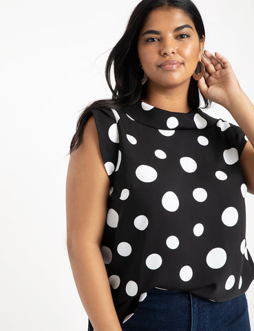 Cowl Neck Blouse in Rock the Dot