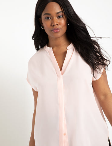 Notch Collar Blouse in Cloud Pink