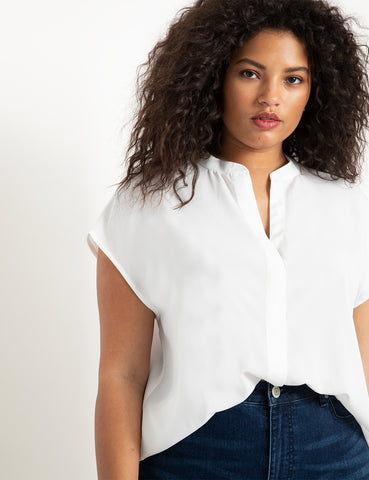 Notch Collar Blouse in Soft White
